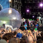 Flaming Lips guy in a giant hamster wheel